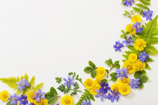 紙の上の春の黄色と紫の花 Premium写真