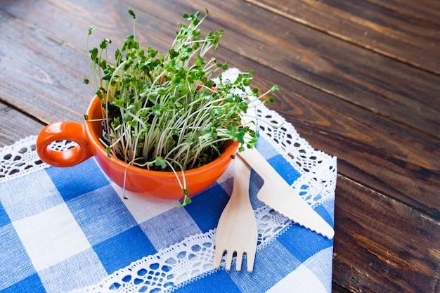 Ростки мини-зеленого цвета в оранжевой чашке и бамбуковая биоразлагаемая вилка и нож из натурального экологически чистого многоразового материала Premium Фотографии