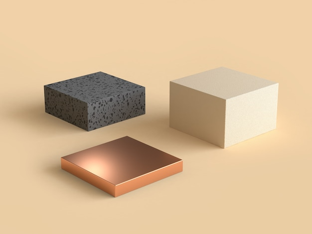 Square abstract geometric shape cream black and gold 3d rendering Premium Photo