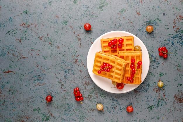 Квадратные бельгийские вафли с мушмулами и медом Бесплатные Фотографии