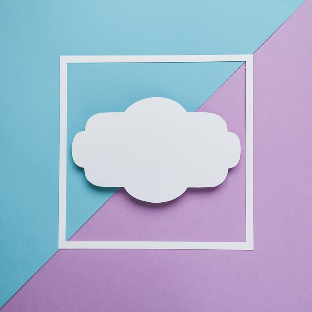 Square frame on the blue and violet background. flat lay. Premium Photo