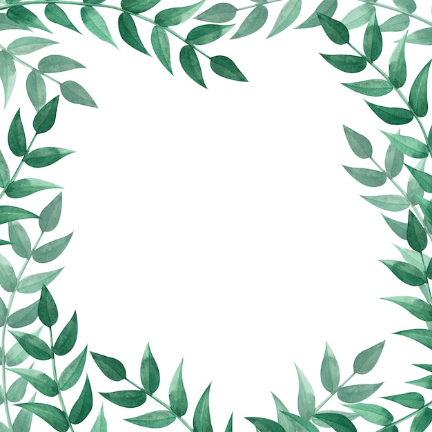 Square frame with green leaves. watercolor illustration. Premium Photo