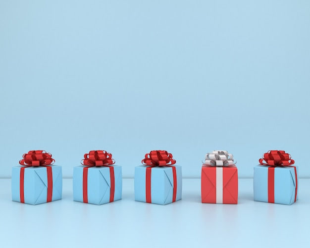 Square gift box and red ribbon blue  background 3d concept render pastel Premium Photo