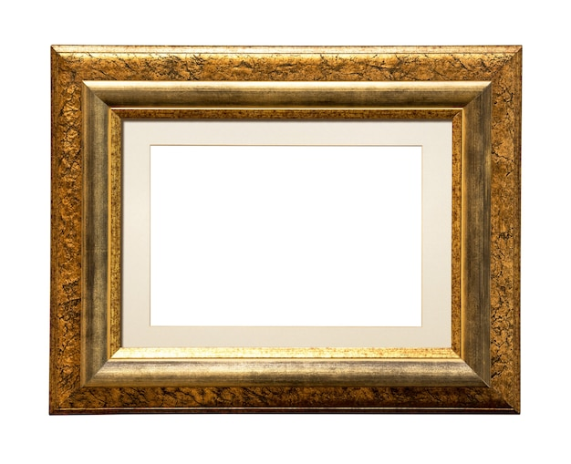 Square wooden picture frame for add your photo isolated on white Premium Photo