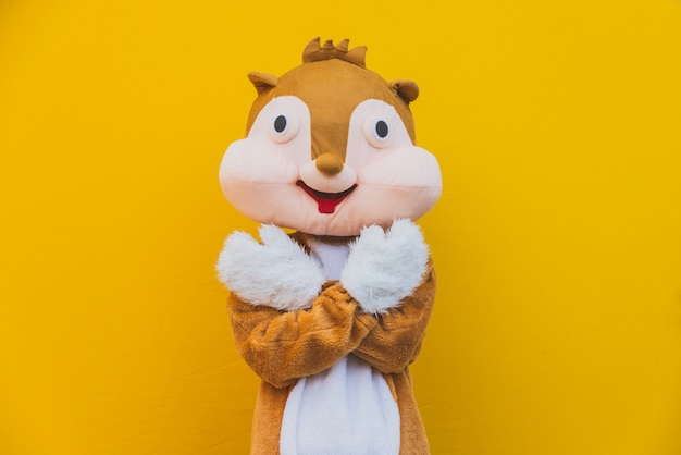 Squirrel character mascot has a message for humanity. environmental concept about animal rights Premium Photo
