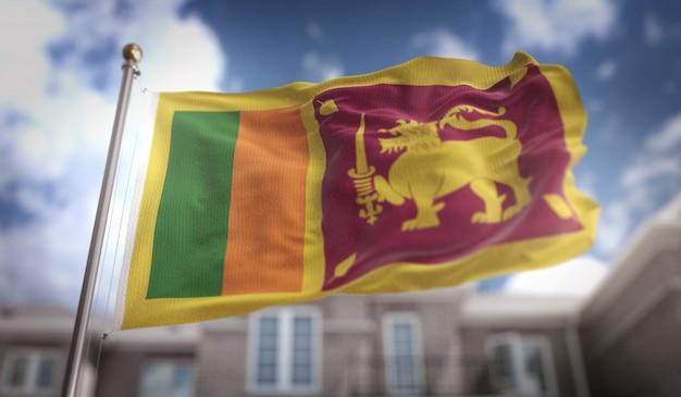 Sri lanka flag 3d rendering on blue sky building background Premium Photo
