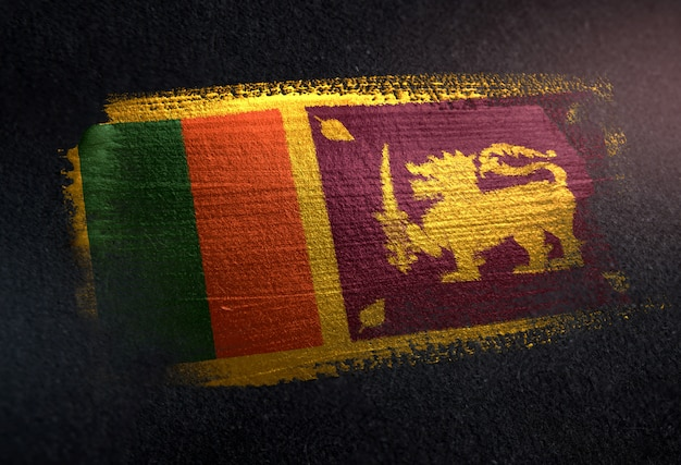 Sri lanka  flag made of metallic brush paint on grunge dark wall Premium Photo