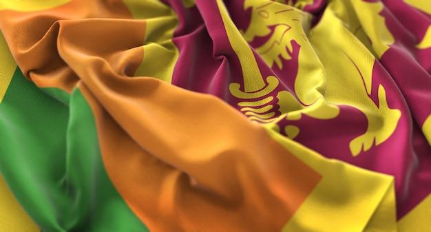Sri lanka flag ruffled beautifully waving macro close-up shot Free Photo