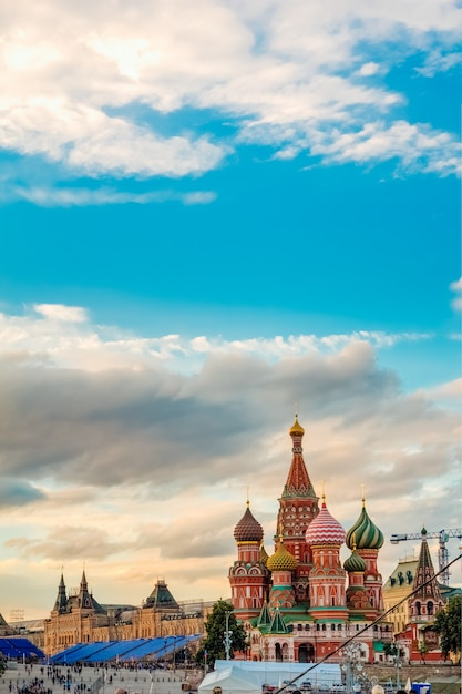 St. basil's cathedral on the background of the gum Premium Photo