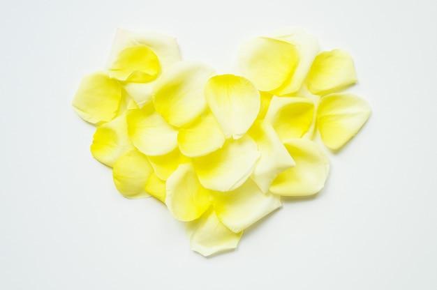 День святого валентина. сердце выложено из лепестков роз на белом фоне Premium Фотографии