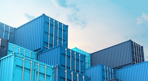 Stack of blue containers box, cargo freight ship for import export 3d Premium Photo