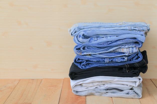 Stack of blue jeans Premium Photo