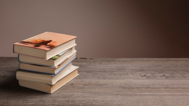 Stack of books and space on right Free Photo
