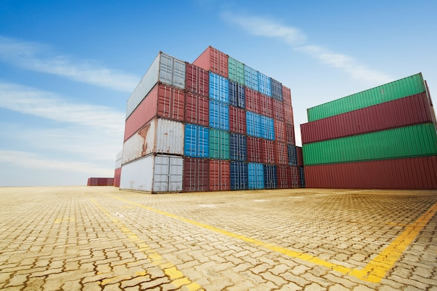 Stack of cargo containers at the docks Premium Photo