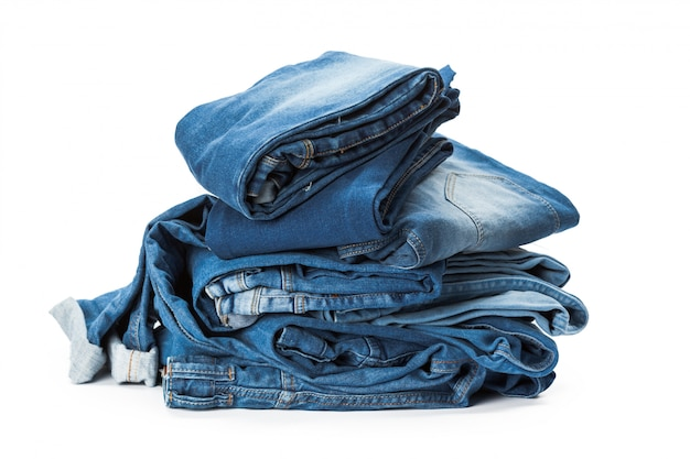 Stack of clothes on white Premium Photo