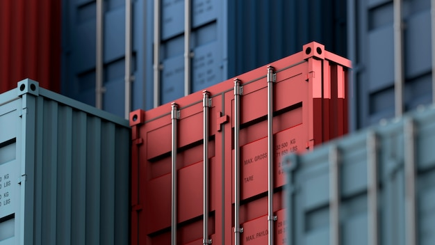 Stack of containers box, cargo freight ship for import export logistics Premium Photo