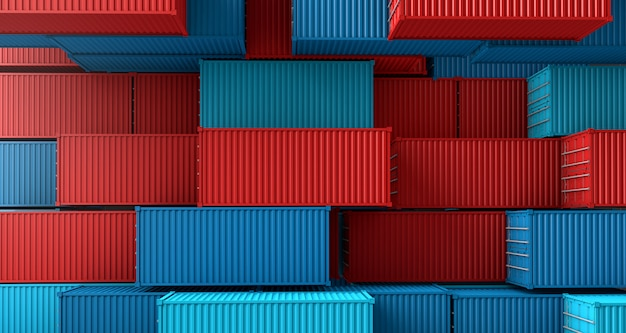 Stack of containers box, cargo freight ship on top view Premium Photo