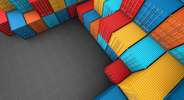 Stack of containers box Premium Photo