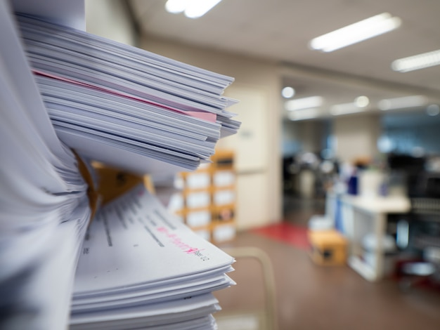 Stack of document on the table in office room  , business concept Premium Photo