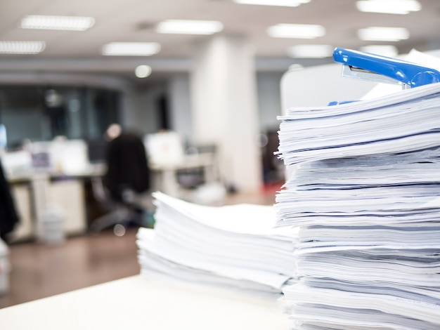 Stack of document on the table Premium Photo