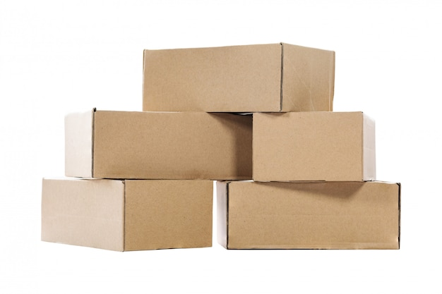 Stack of empty paper boxes for product packaging and delivery Premium Photo