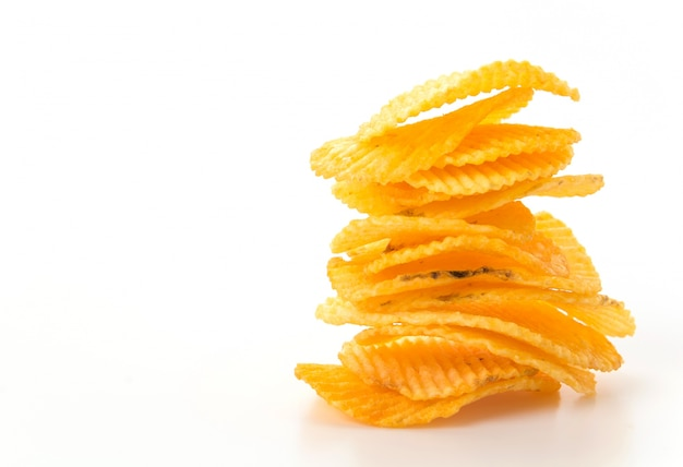 Stack fried snack prepared chips Free Photo