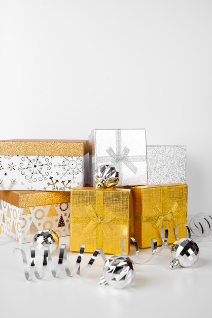 Stack of gift boxes and copy space background Free Photo