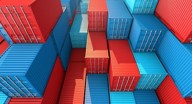 Стек из контейнера коробки, грузовой грузовой корабль для импорта-экспорта 3d Premium Фотографии
