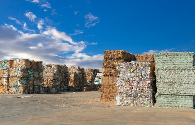 Stack of paper waste before shredding at recycling plant Premium Photo