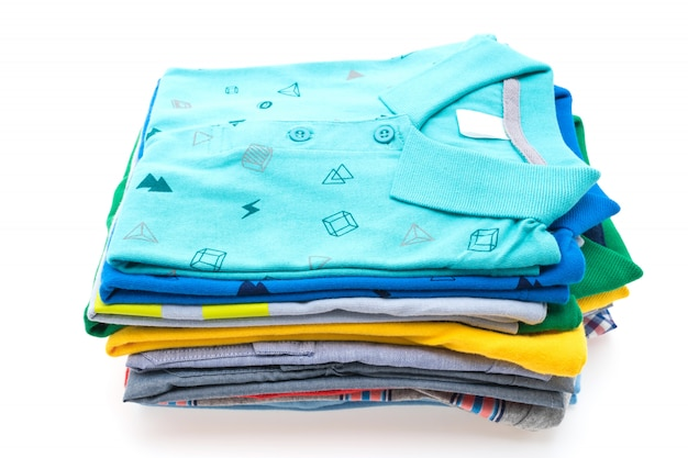 Stack of t shirt and polo Free Photo