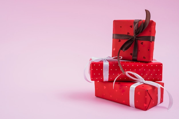 Stack of valentine's day presents Free Photo