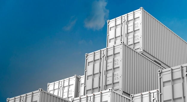 Stack of white containers box, cargo freight ship for import export 3d Premium Photo