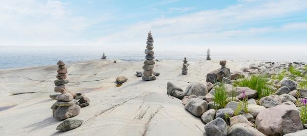 Stacked rocksのバランス、正確なスタッキング。海岸の石造りの塔。コピースペース。 Premium写真
