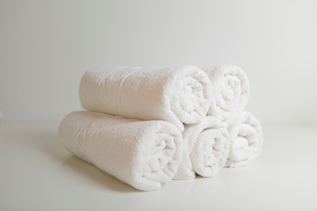Stacked white towels Free Photo