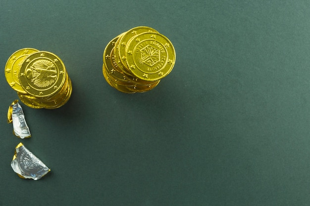 Stacks of chocolate coins Free Photo