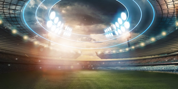 Stadium in  lights and flashes, football field Premium Photo