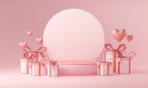 무대 모형 템플릿 발렌타인 결혼식 사랑 심장 모양 및 선물 상자 3d 렌더링 프리미엄 사진