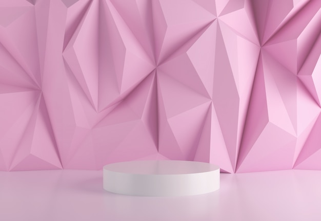 Stage podium in abstract pink. Premium Photo