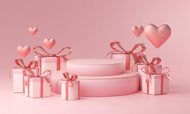 무대 템플릿 발렌타인 결혼식 사랑 심장 모양 및 선물 상자 3d 렌더링 프리미엄 사진