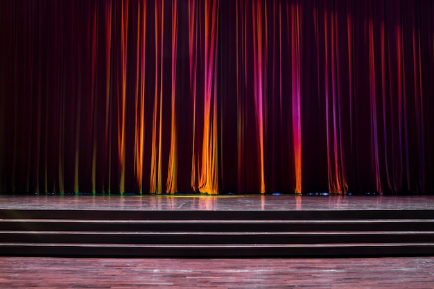 Stage wood and red curtains. Premium Photo
