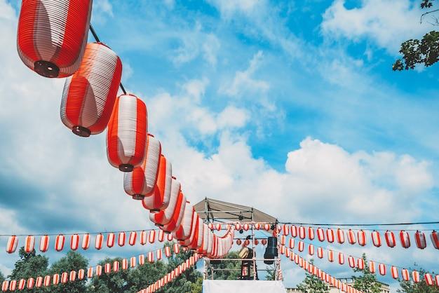 The stage of the yagura with a big japanese taiko drum odaiko Premium Photo
