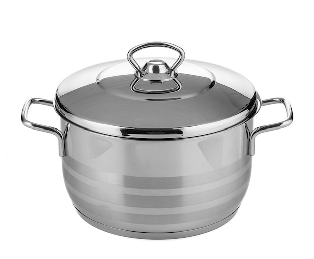 Stainless steel pot isolated on white surface Premium Photo
