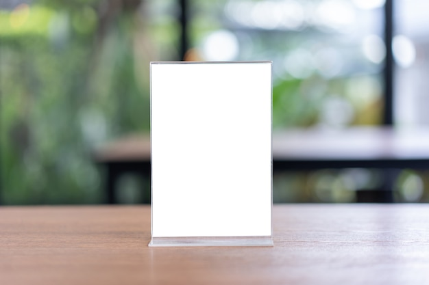 Stand mock up menu frame tent card blurred background design key visual layout. Premium Photo