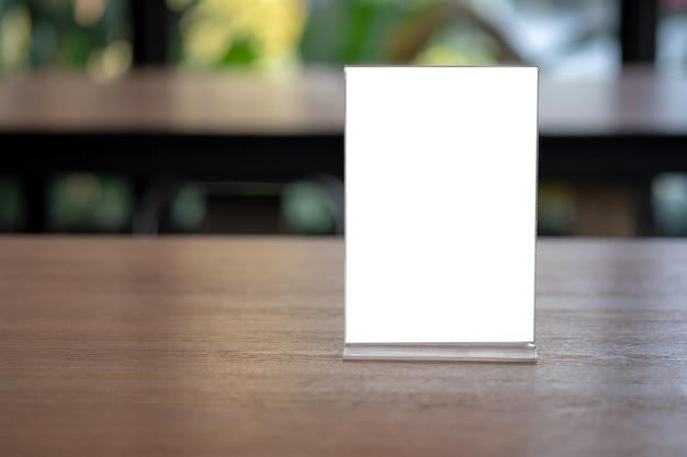 premium photo  stand mock up menu frame tent card blurred