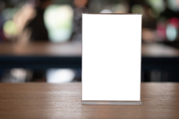Stand mock up menu frame tent card blurred background design key visual layout Premium Photo