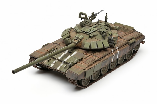 Stand model of a military battle tank on a white surface Premium Photo