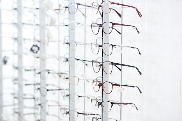 Stand with optical glasses. Premium Photo