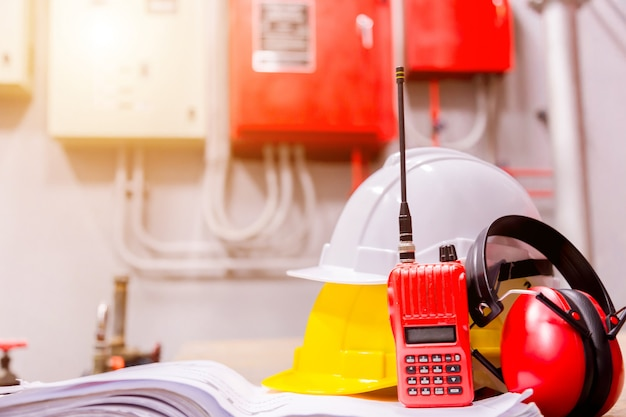 Standard construction safety equipment in control room, construction and safety concept. Premium Photo