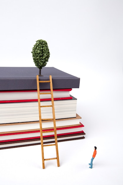 Standing man and wooden ladder on stack of new books Premium Photo