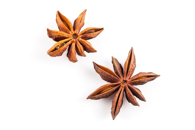 Star anise isolated on white background, dried anise stars, ingredient Premium Photo